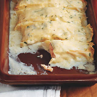 Salmon Cannelloni with Lemon Cream Sauce.