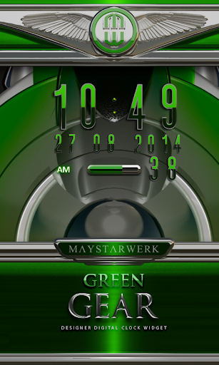 Digi Clock Widget Green Gear