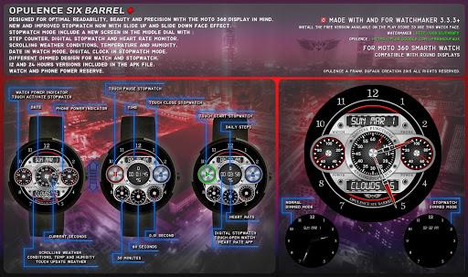 Opulence Six Barrel Watch Face