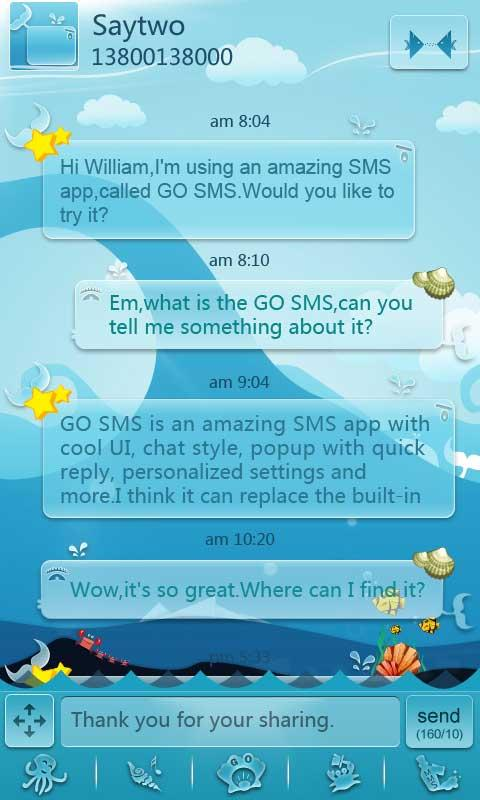 GO SMS Pro Ocean ThemeEX - screenshot