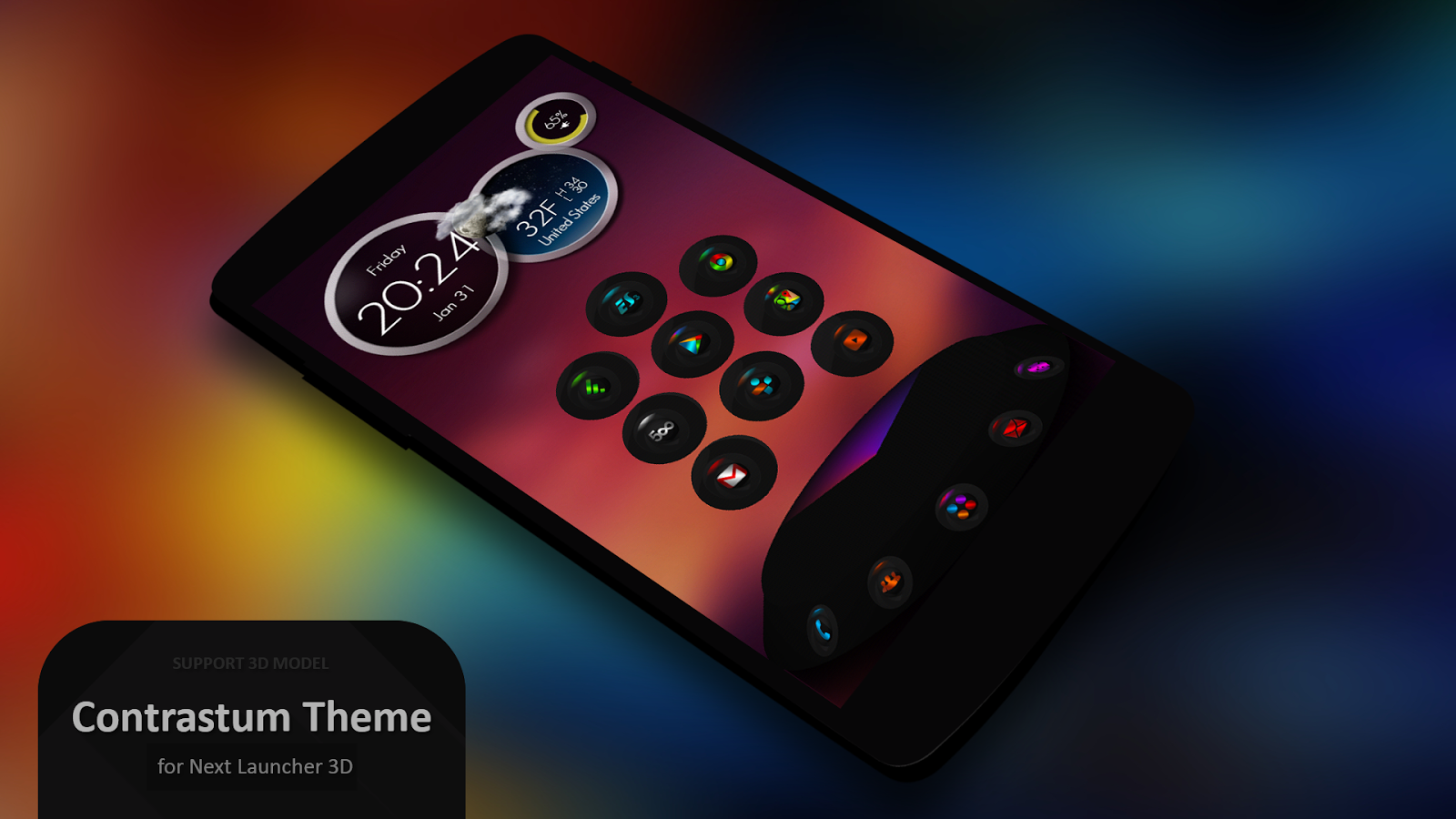 Next Launcher Theme Contrastum- screenshot