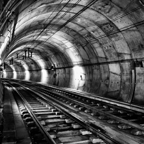 The Subway Tunnel by Antonio Amen - Black & White Buildings & Architecture ( subway, railway tracks, tunnel, , vertical lines, pwc )