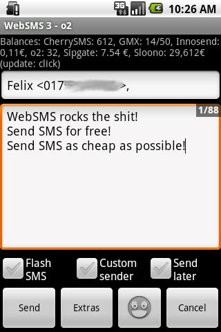 WebSMS: Cherry-SMS Connector - screenshot