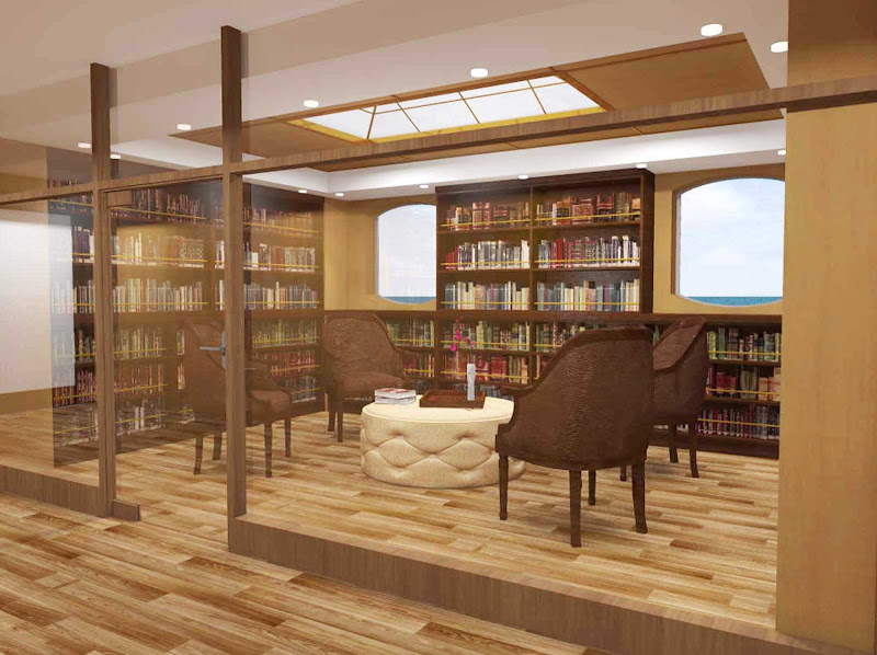 Silver Explorer's library area offers a quiet, tranquil area for reading or relaxing.