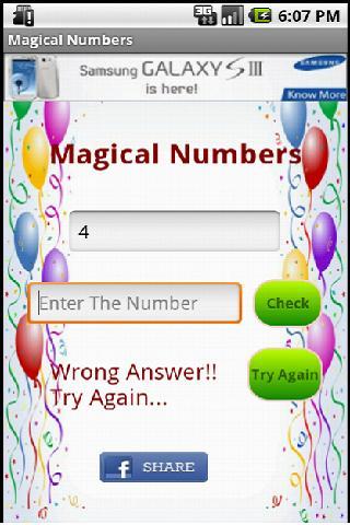 Magical Numbers- screenshot
