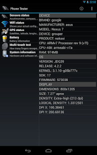Phone Tester (hardware info) Screenshot