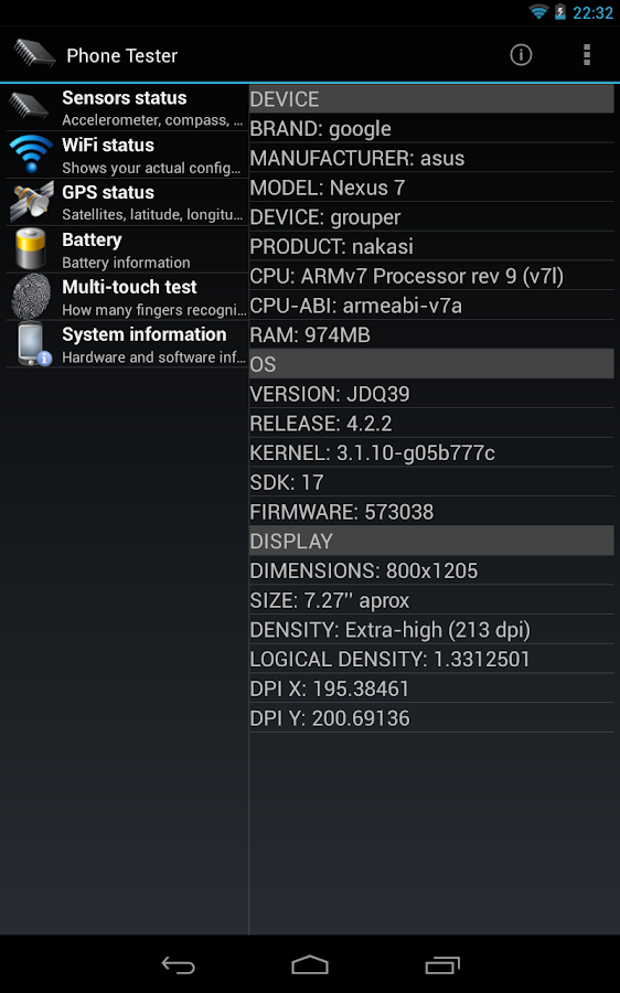 Phone Tester (hardware info)- screenshot