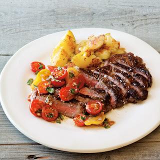 Pan-Fried Steak, Rosemary Potatoes, and Tomato Relish