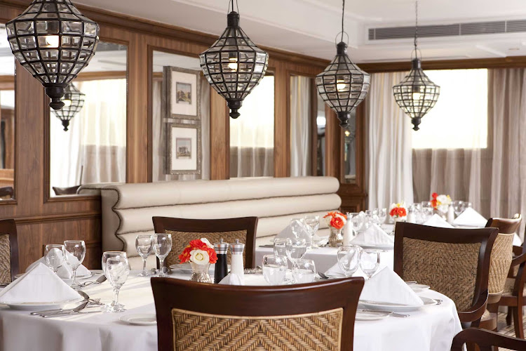 Enjoy a fine dining experience as you cruise along the Nile aboard River Tosca from Uniworld River Cruises.