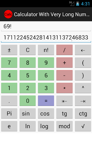 Calculator for long numbers