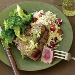 Tuna Steaks with Broccoli and Couscous.