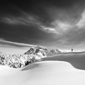 Winter Solitaire by Joel DeWaard - Black & White Landscapes ( snowshoe, grandeur, winter, solo, snow, white, shuksan, snowscape, mountaineering, black )