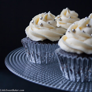 Dark Chocolate Cupcakes with White Chocolate Buttercream.