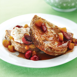 French Toast with Dark Cherry Topping