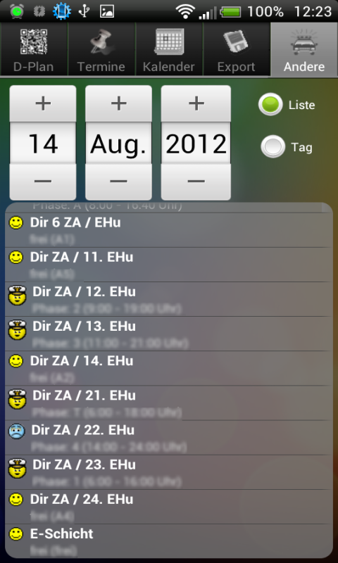 Shift planner - screenshot