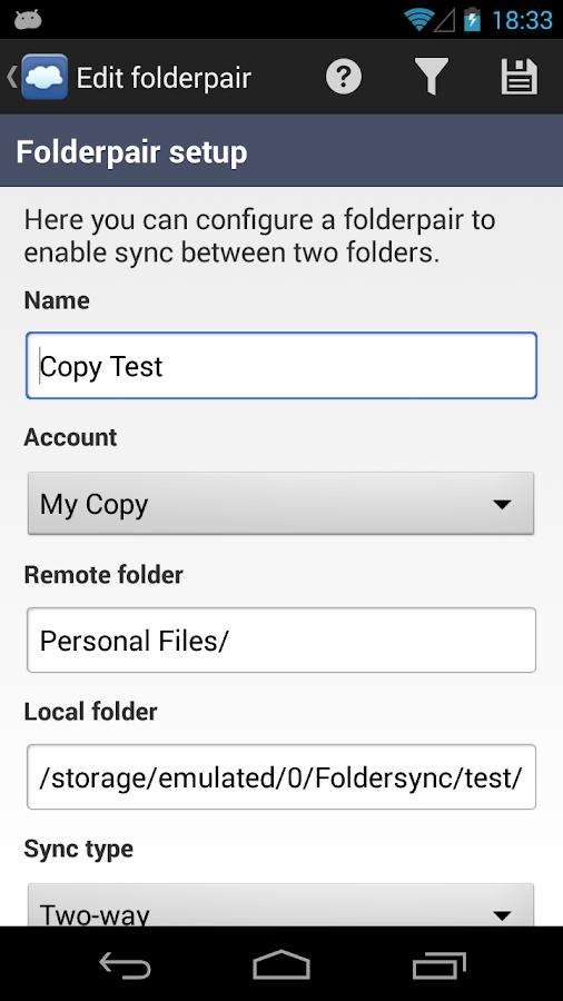 FolderSync Lite - screenshot