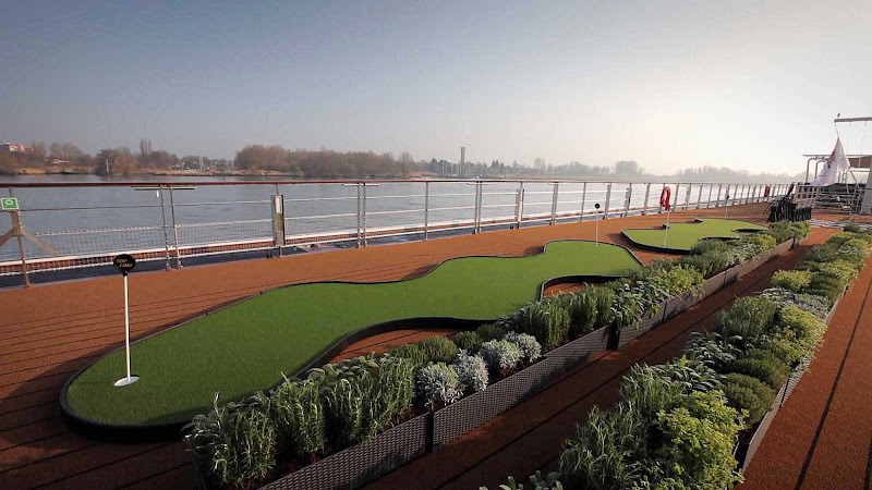 Putting green and herb garden onboard Viking Hermod.