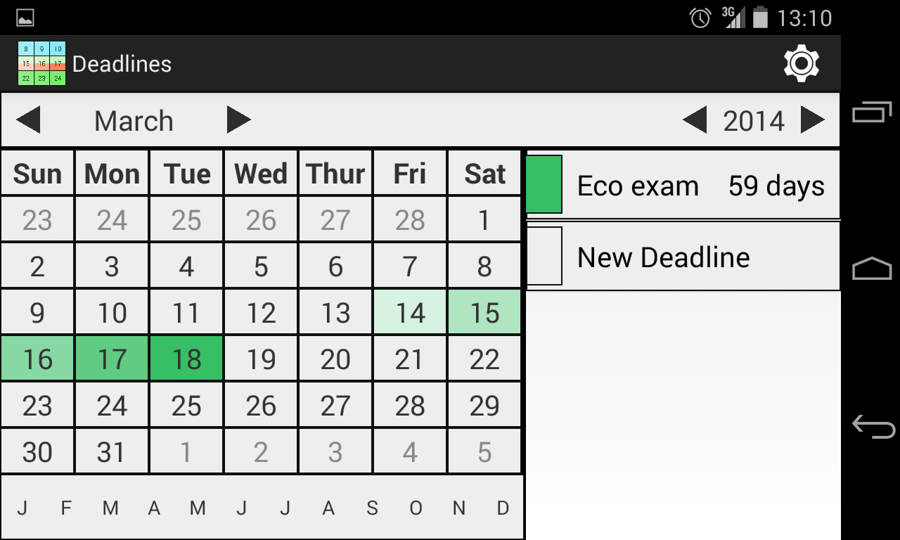 Deadlines Calendar Free - screenshot