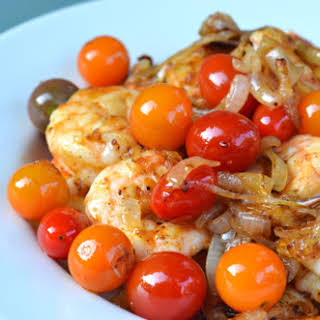 Sauteed Shrimp With Onions and Cherry Tomatoes.