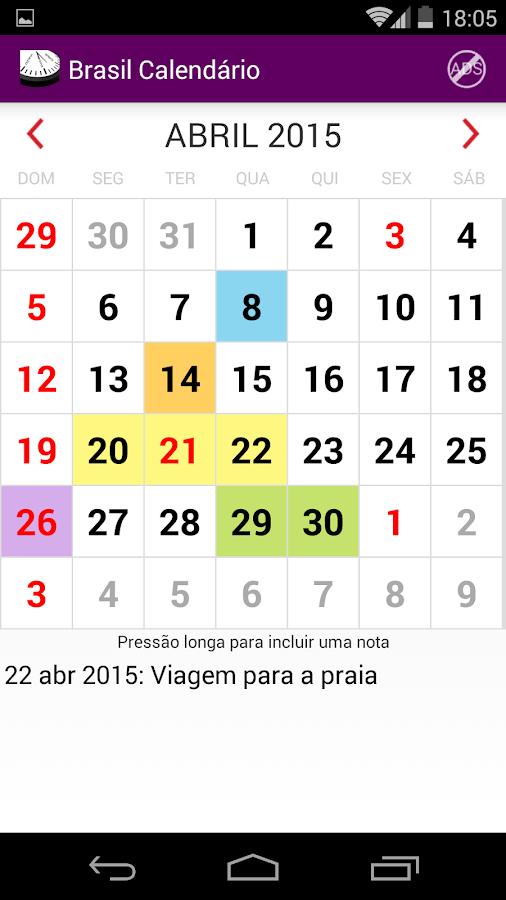 Brasil Calendário 2015 NoAds- screenshot
