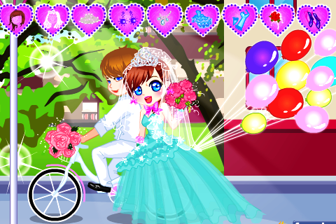 Cute Bride Wedding Dress up