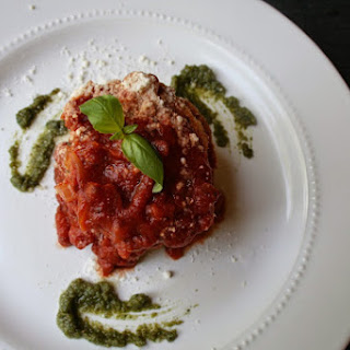 Eggplant Parmesan Stack with Pecan Basil Pesto and Classic Tomato Sauce