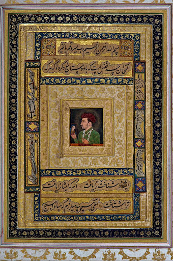 Mughal Emperor Jahangir (1605-27) holding the picture of Madonna