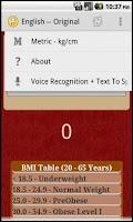Screenshot of BMI Calculator With Voice Rec.
