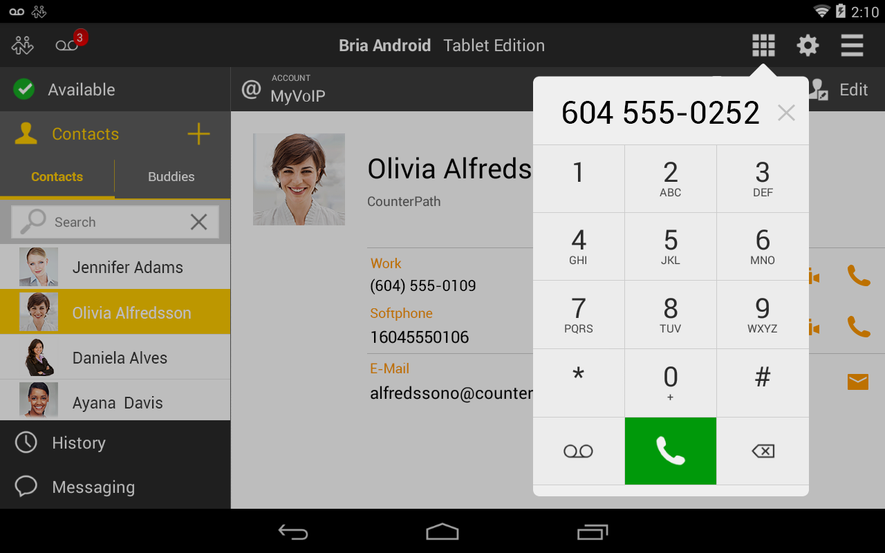 Bria Android Tablet Edition - screenshot