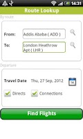 Screenshot of Ethiopian Flights Timetable