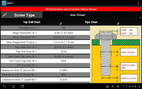 Machine Screws DrillTap Info  Apps On Google Play