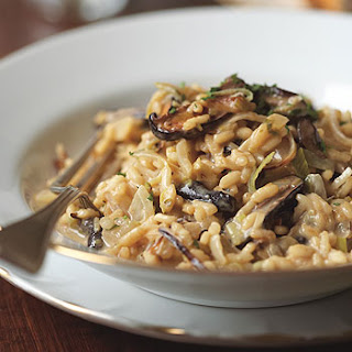 Risotto with Leeks, Shiitake Mushrooms, and Truffles.