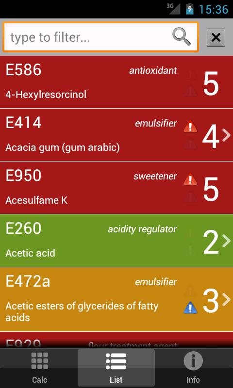 E Numbers Calc: Food Additives - screenshot