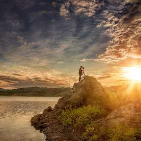 On the rocks by Marius Igas - Wedding Other ( clouds, sky, sunset, lake, sun )
