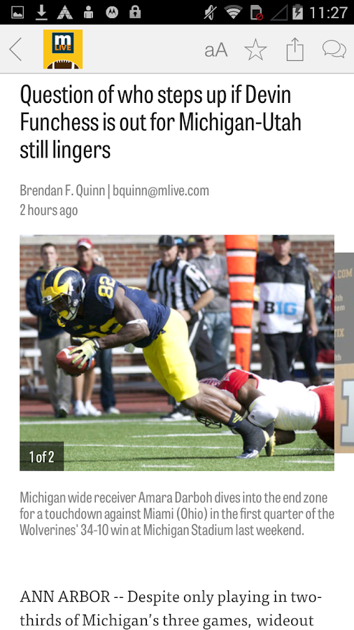 MLive.com: U M Football News - screenshot
