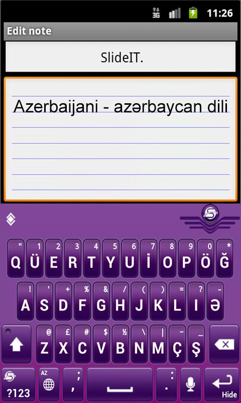 SlideIT Azerbaijani Pack - screenshot