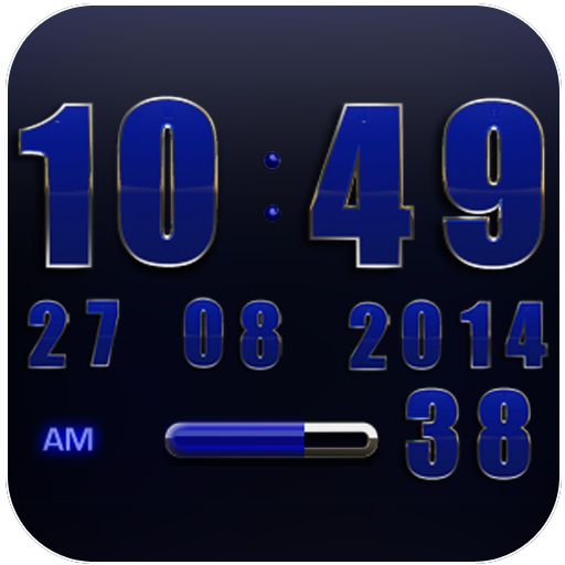 Digi Clock Widget Blue Star
