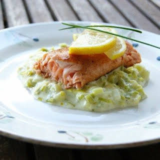 Salmon With Creamed Leeks.