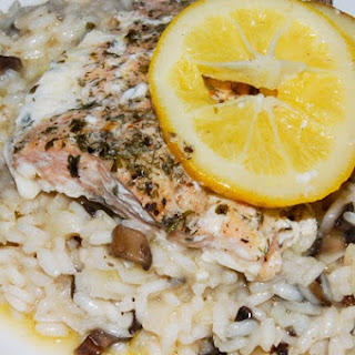 Mushroom Risotto with Baked Lemon Salmon.