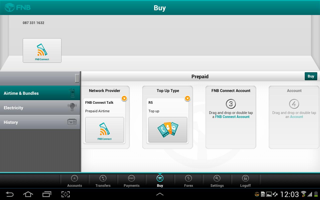 FNB Banking App for Tablet - screenshot