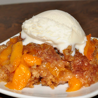 Crock Pot Peach Cobbler.