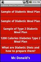 Screenshot of Diabetic Diet Samples