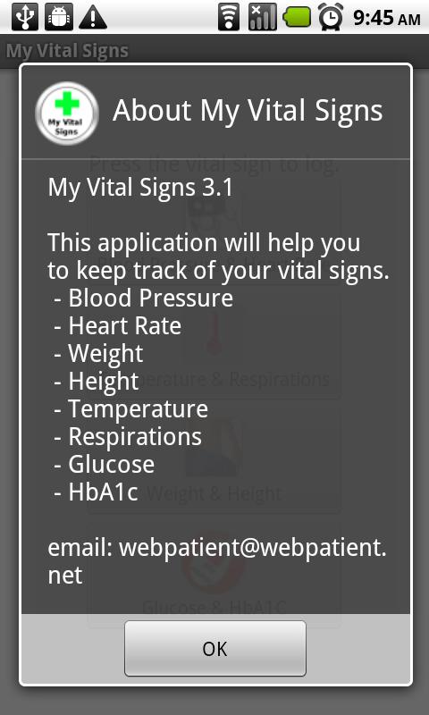 My Vital Signs - screenshot