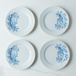 Swedish Blue Rosemaling Dessert Plates (Set of 4)