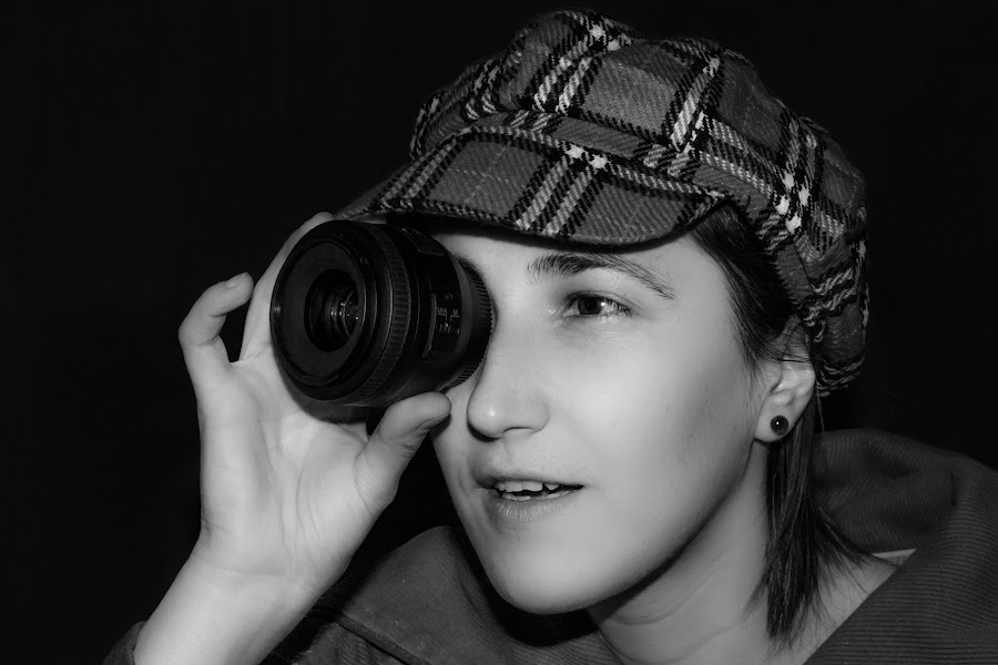 I can see you! by Mihaela Iordan - People Portraits of Women ( selfie, self shot, black and white, camera, self portrait, low light, portrait,  )