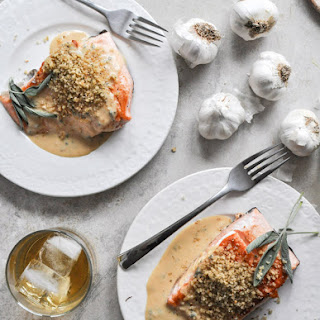 Pan-Crisped Salmon with Light Dijon Cream and Garlic Butter Breadcrumbs.