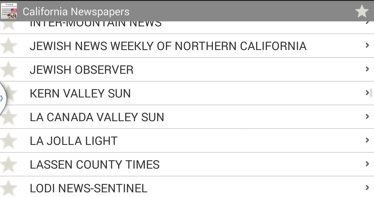 California newspapers- screenshot