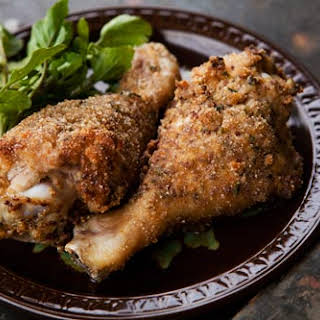 Breaded and Baked Chicken Drumsticks.