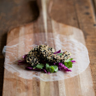 Sesame Crusted Avocado and Cabbage Spring Rolls.
