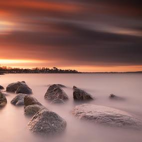 Orange by Kim Borup Matzen - Landscapes Waterscapes ( water, sunset, long exposure, seascape, filter )